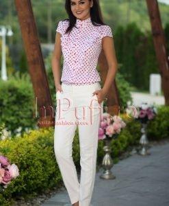 Pantaloni dama albi conici - PANTALONI COLANTI - PANTALONI COLANTI > Pantaloni