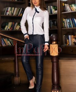 Pantaloni dama bleumarin din piele ecologica - PANTALONI COLANTI - PANTALONI COLANTI > Pantaloni