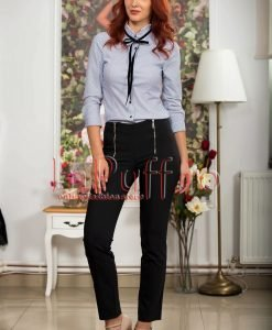 Pantaloni dama negri cu fermoare metalice argintii - PANTALONI COLANTI - PANTALONI COLANTI > Pantaloni