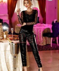 Pantaloni dama negri din piele ecologica - PANTALONI COLANTI - PANTALONI COLANTI > Pantaloni