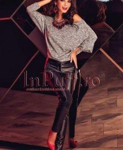Pantaloni dama piele ecologica in lateral si lycra pe spate - PANTALONI COLANTI - PANTALONI COLANTI > Pantaloni