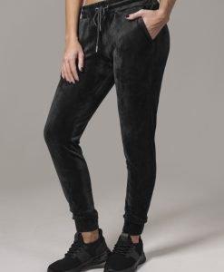 Pantaloni model tip catifea pentru Femei negru Urban Classics - Pantaloni trening - Urban Classics>Femei>Pantaloni trening