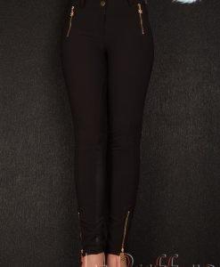 Pantaloni negri cu aplicatii din ecopiele - PANTALONI COLANTI - PANTALONI COLANTI > Colanti