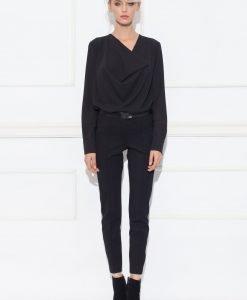 Pantaloni negri cu detalii din piele Negru - Imbracaminte - Imbracaminte / Pantaloni