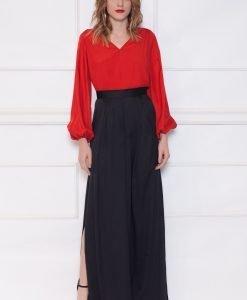 Pantaloni negri cu slit lateral Negru - Imbracaminte - Imbracaminte / Pantaloni