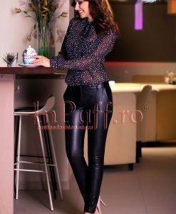 Pantaloni negri dama din piele ecologica - PANTALONI COLANTI - PANTALONI COLANTI > Pantaloni