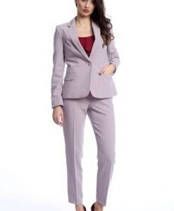 Pantaloni office cu buzunare laterale AM-21611406 lila - Outlet -