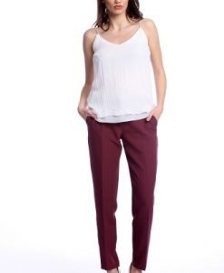 Pantaloni office cu buzunare laterale AM-21611408 grena - Outlet -