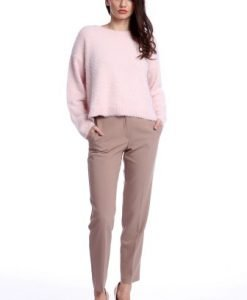 Pantaloni office cu buzunare laterale AM-21611409 bej - Outlet -