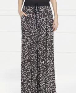 Pantaloni palazzo din tesatura silky touch Alb/Negru - Imbracaminte - Imbracaminte / Pantaloni