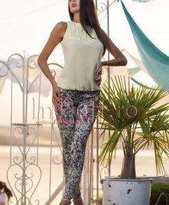 Pantaloni verzi imprimeu floral - PANTALONI COLANTI - PANTALONI COLANTI > Pantaloni