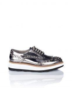 Pantofi Brogues din piele naturala si tinte Argintiu - Incaltaminte - Incaltaminte / Pantofi fara toc