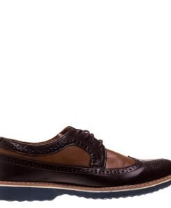 Pantofi barbati Bruno maro cu camel - Incaltaminte Barbati - Pantofi Barbati