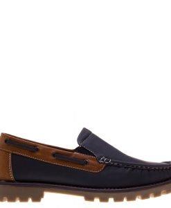 Pantofi barbati Gill albastru cu camel - Incaltaminte Barbati - Pantofi Barbati