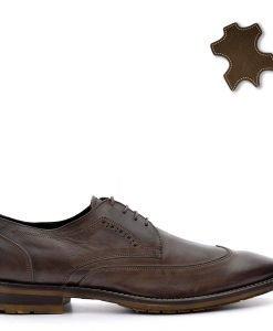 Pantofi barbati piele Manfield maro - Incaltaminte Barbati - Pantofi Barbati