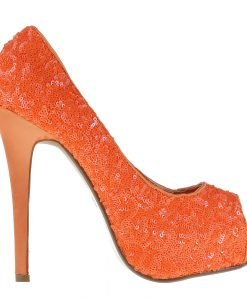 Pantofi dama Katia portocalii - Incaltaminte Dama - Pantofi Dama