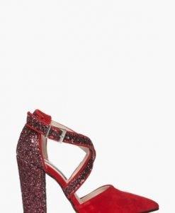 Pantofi eleganti cu glitter din piele intoarsa naturala CB063 - Pantofi -