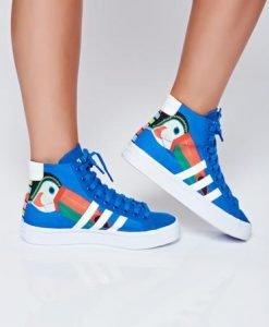 Pantofi sport Adidas originals courtvantage albastru cu siret cu print - Pantofi Sport -
