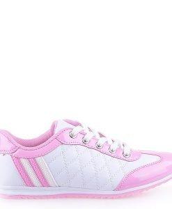 Pantofi sport dama Judith albi cu roz - Promotii - Lichidare Stoc