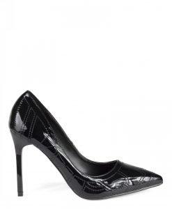 Pantofi stiletto negri cu textura lucioasa Negru - Incaltaminte - Incaltaminte / Pantofi cu toc