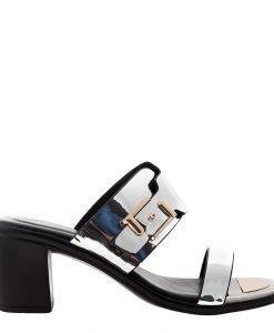 Papuci dama Chloe argintii - Incaltaminte Dama - Papuci Dama