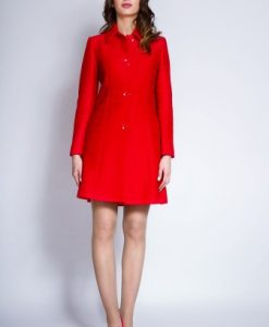 Pardesiu elegant din stofa cu aplicatii din dantela NORA rosu - Paltoane -