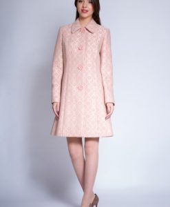 Pardesiu elegant din stofa cu aplicatii din dantela NORA roz pal - Paltoane -