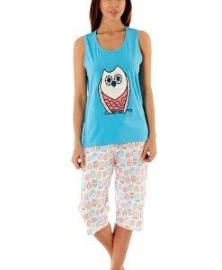 Pijama dama Owl Blue din bumbac - Lenjerie pentru femei - Pijamale dama