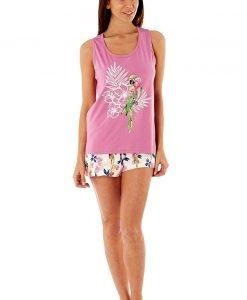 Pijama dama Parrot Pink scurta din bumbac - Lenjerie pentru femei - Pijamale dama