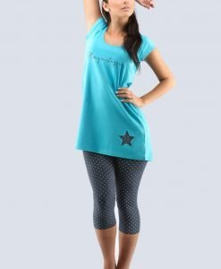 Pijama dama Star turcoaz - Promotii - Promotiile saptamanii
