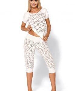 Pijama seducatoare de lux Thelma Ecru - Lenjerie pentru femei - Pijamale dama