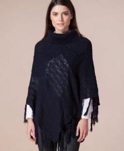 Poncho bleumarin din tricot 4387 - Poncho -