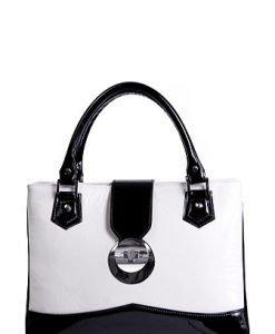 Poseta Rena alb cu negru din piele naturala model RNXL343-47N - Genti office -