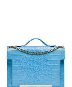 Poseta din piele naturala croco LAURENMARE blue - Posete de ocazie -