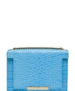 Poseta mica din piele naturala croco LAURENMICA bleu - Posete de ocazie -