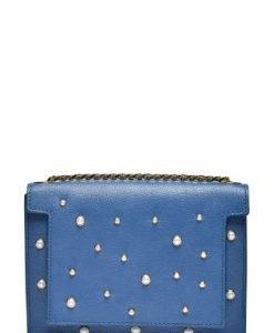 Poseta mica din piele naturala cu aplicatii perle LAURENPERLE albastru petrol - Posete de ocazie -