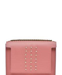 Poseta mica din piele naturala cu aplicatii perle LAURENPERLE roz - Posete de ocazie -
