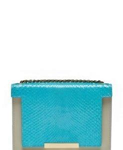 Poseta mica din piele naturala snake LAURENSNAKE turquoise - Posete de ocazie -