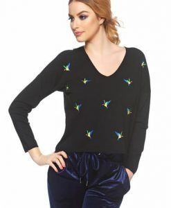 Pulover Embroidered Birds Black - Pulovere -