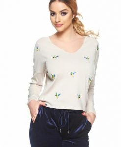 Pulover Embroidered Birds Cream - Pulovere -