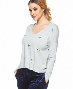 Pulover Embroidered Birds Grey - Pulovere -