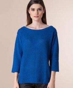 Pulover albastru din tricot 1F-331 - Pulovere -
