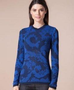 Pulover albastru din vascoza cu imprimeu floral 4373 - Pulovere -