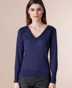 Pulover bleumarin din tricot 1F-410 - Pulovere -