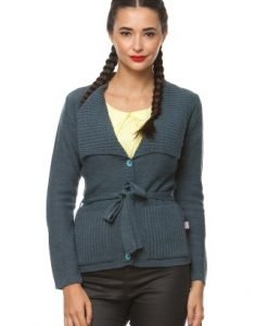 Pulover casual cu buzunare laterale si cordon din tricot 1F.438 gri - Pulovere -