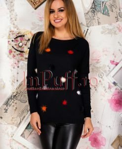 Pulover dama negru cu pufi colorati - PULOVERE -