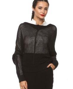 Pulover din tricot subtire 15200 negru - Pulovere -