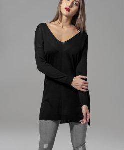 Pulover lejer tricot fin cu decolteu in V pentru Femei negru Urban Classics - Femei - Urban Classics>Colectie noua>Femei