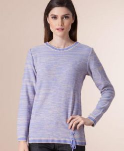 Pulover lila din tricot 1F-390 - Pulovere -