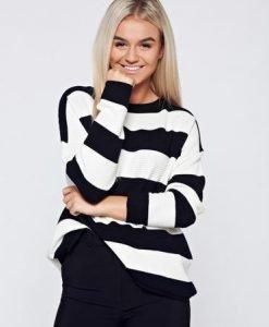 Pulover negru casual tricotat cu croi larg - Pulovere -